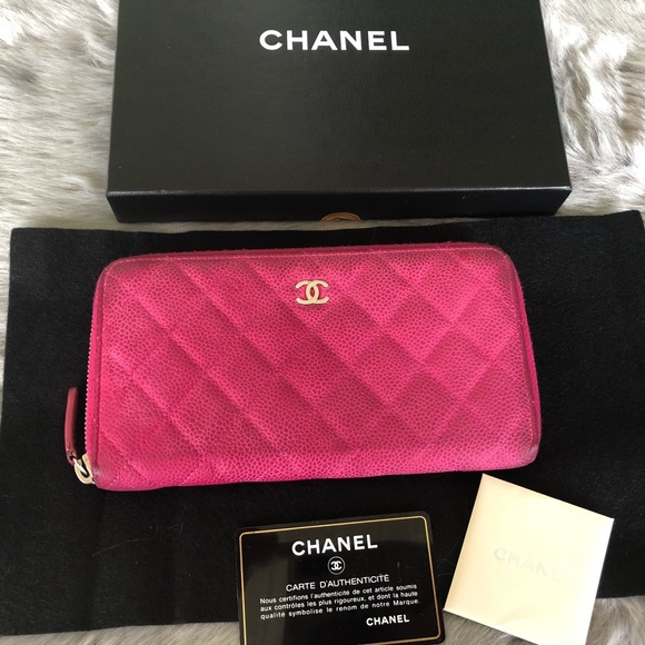 dddaca43cc64 CHANEL Handbags - Authentic Chanel Pink Caviar Leather Zip Wallet